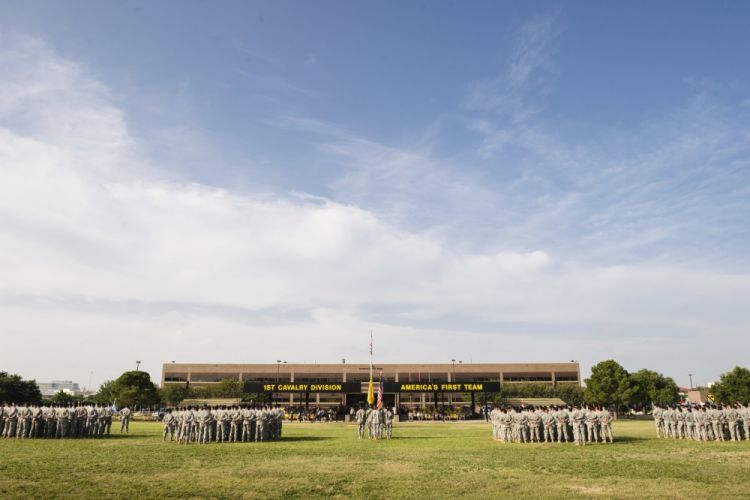 Change of command ceremony at Fort Hood's Cooper Field