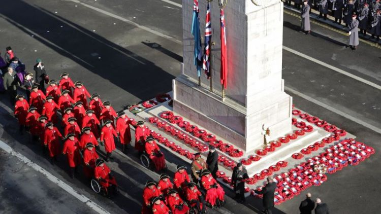 Chelsea Pensioners march past Cenotaph on Remembrance Sunday