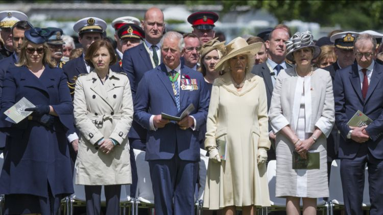 Remembrance service at Bayeux Cemetery. L-R: Defence Secretary Penny Mordaunt, French Defence Minister Florence Parly, Prince Charles, Duchess of Cornwall, Theresa May, Phillip May (Picture: MOD).