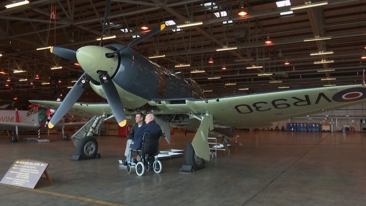 Veteran pilot William 'Harry' Hands with Hawker Sea Fury at RNAS Yeovilton