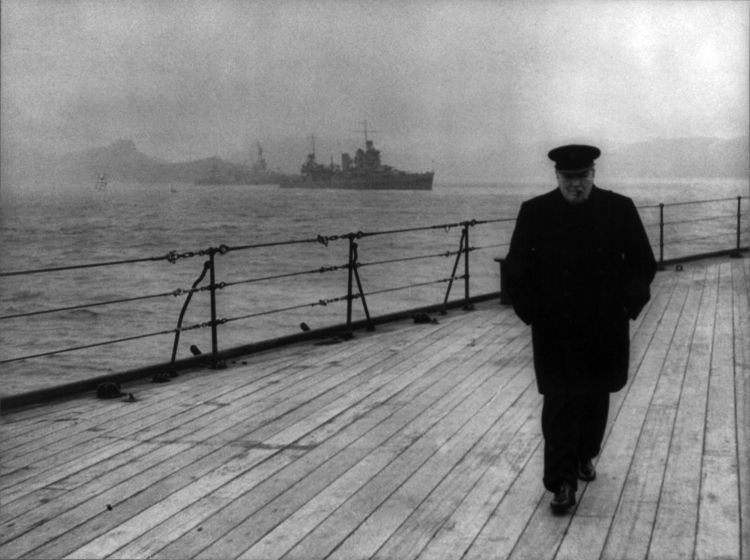 Churchill on the deck of the HMS Prince of Wales; he was there for a conference with US president Franklin Roosevelt to establish the Atlantic Charter that would shape the post-war world