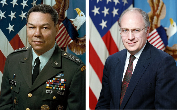Colin Powell when he served as Chairman of the Joint Chiefs of Staff during the Gulf War (left) and Dick Cheney in his role then as Secretary of Defense (right)