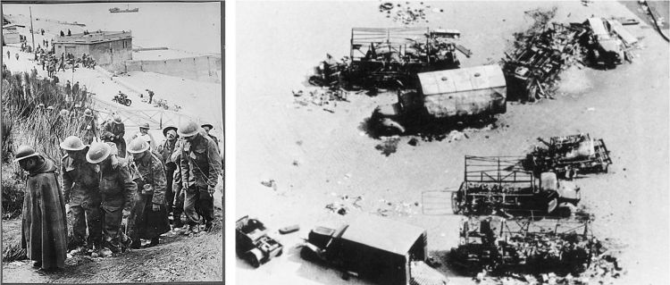 British POWs at Dunkirk (left) and vehicles deserted on the beach, these ones thought to be at Calais