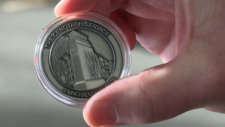 Commemorative Cenotaph Coin 081118 CREDIT BFBS