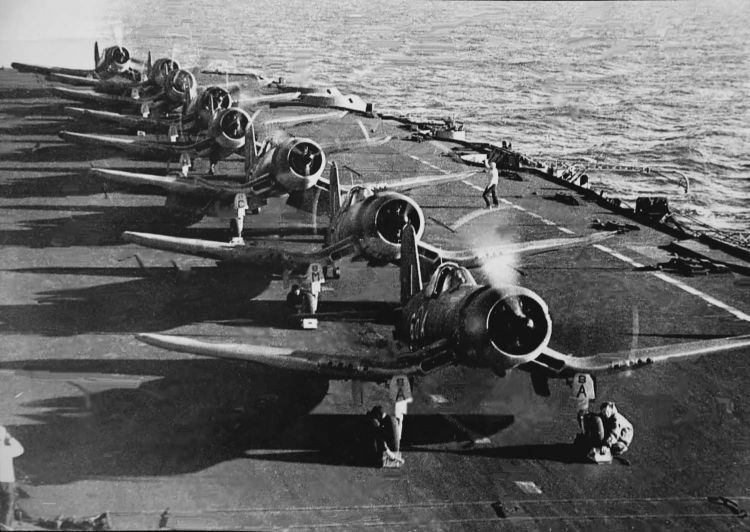 Corsairs on the deck of HMS Formidable