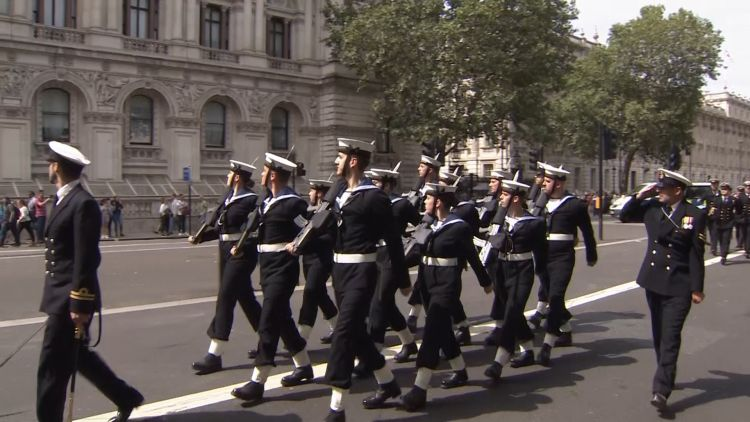 Crew of HMS Westminster march through Whitehall 070819 CREDIT BFBS