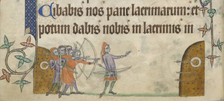 Crop of English archers image in medieval manuscript