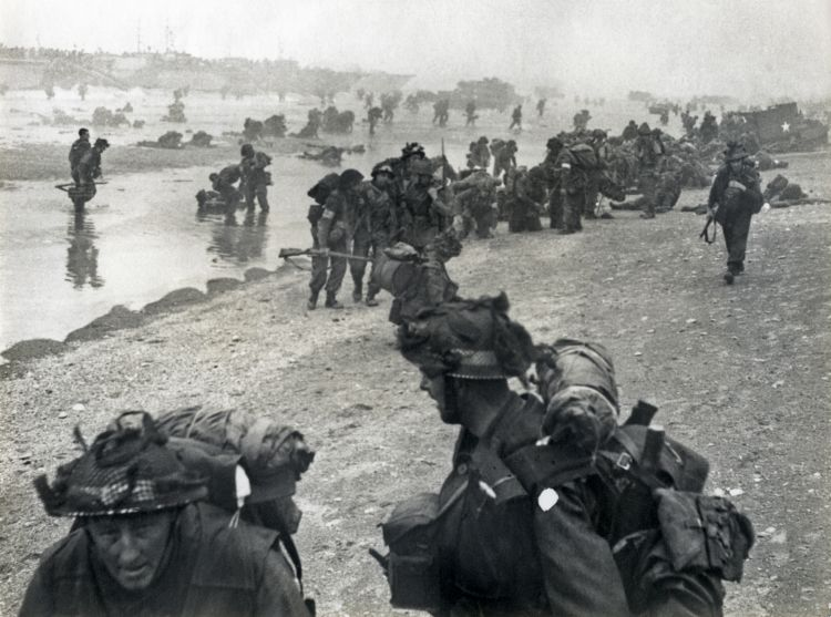 British troop landing on Normandy on D-Day