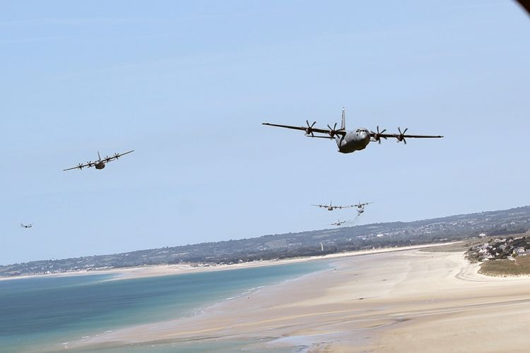D-Day 74 ceremony with A-10 Thunderbolt and C-130 Hercules over Normandy beach
