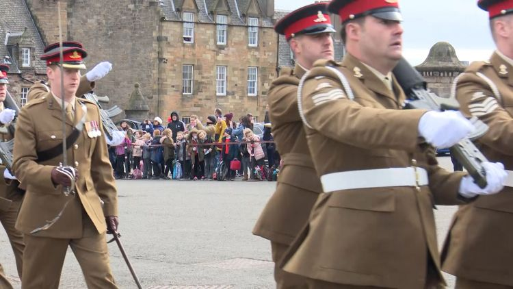 Crowds at Edinburgh Castle watch 38 Seringapatam Battery farewell parade
