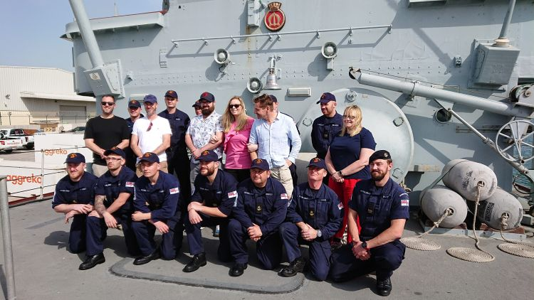 The cast learned about the vessel's capabilities and were given a tour of the ship