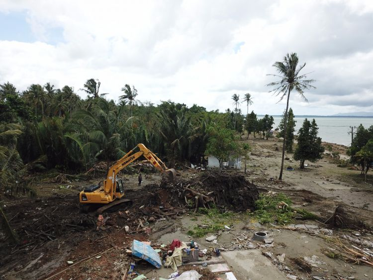 Damage in South Sumatra following the tsunami (Picture: Team Rubicon UK).