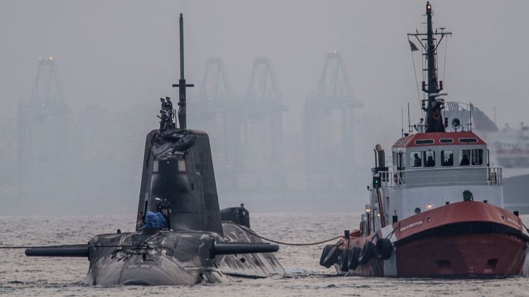 Damaged submarine HMS Ambush pulled into Gibraltar following an incident 210716 CREDIT DM Parody