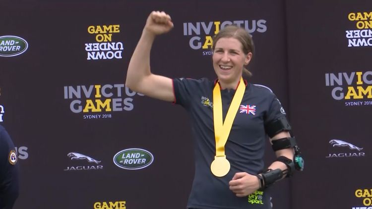 Debbie O'Connell celebrates her gold medal.
