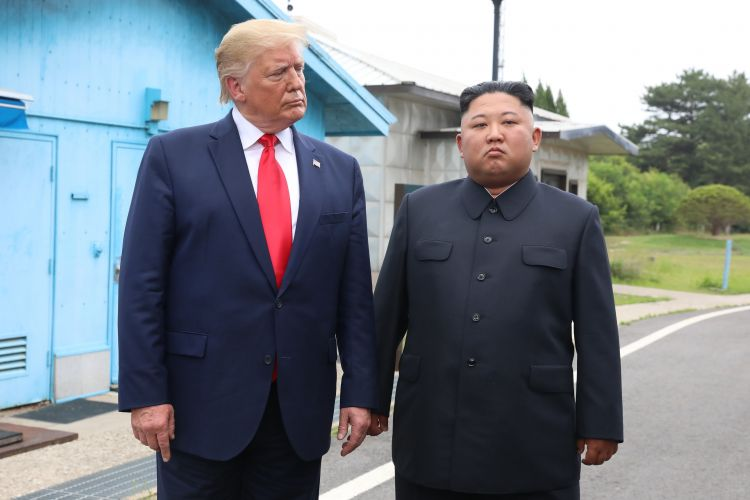 Donald Trump and Kim Jong Un in North Korea