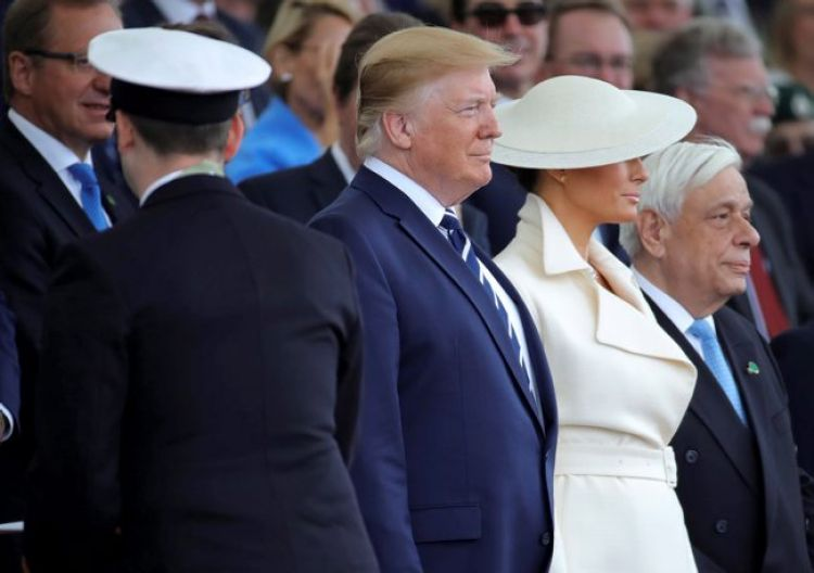 Donald Trump and Melania Trump attend the D-Dat 75th anniversary commemoration in Portsmouth 050619 CREDIT MOD.jpg