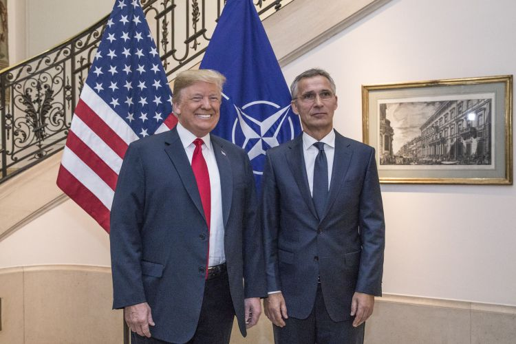 Donald Trump with Jens Stoltenberg at NATO Summit in Brussels 110718 CREDIT NATO