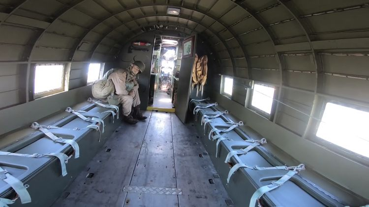 The interior of the Douglas Dakota has been refurbished to make it as realistic looking as possible.