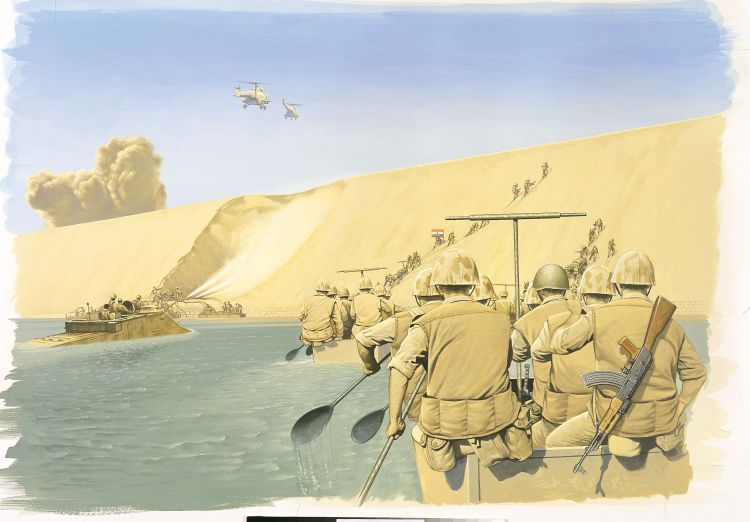 Egyptians crossing the Suez canal Yom Kippur War Osprey Publishing