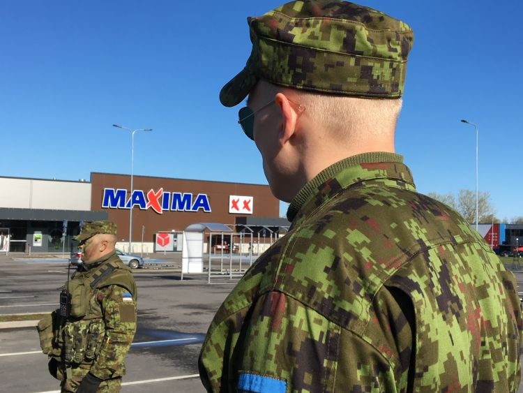 Estonian Defence Force on Exercise Spring Storm in supermarket car park Credit BFBS 090519.JPG