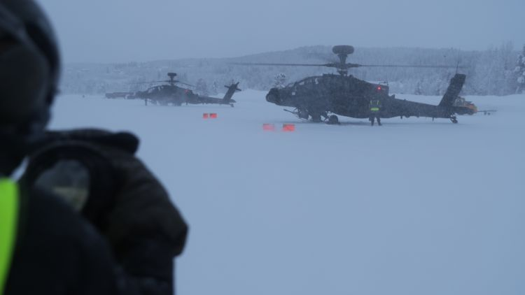 Apache attack helicopters on Exercise Clockwork in Norway