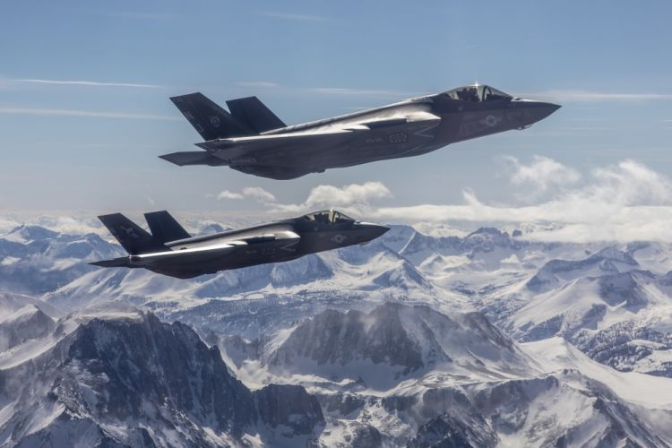 F-35C aircraft over Sierra Nevada mountains
