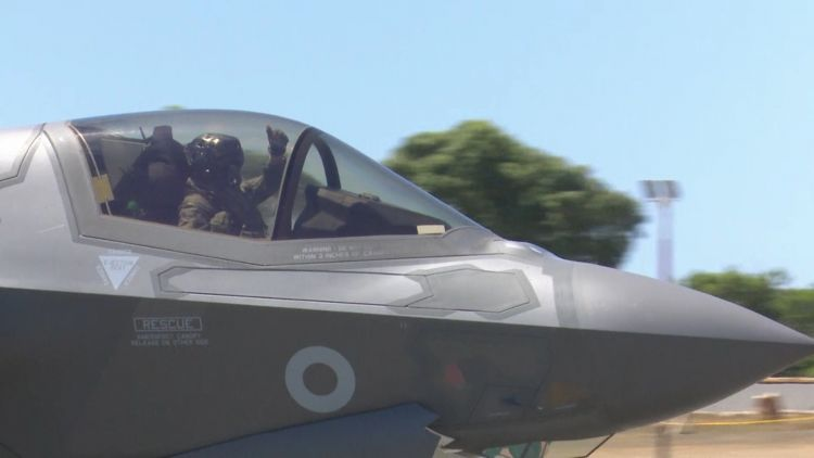 F35 pilot waves goodbye to Cyprus 020719 CREDIT BFBS.jpg
