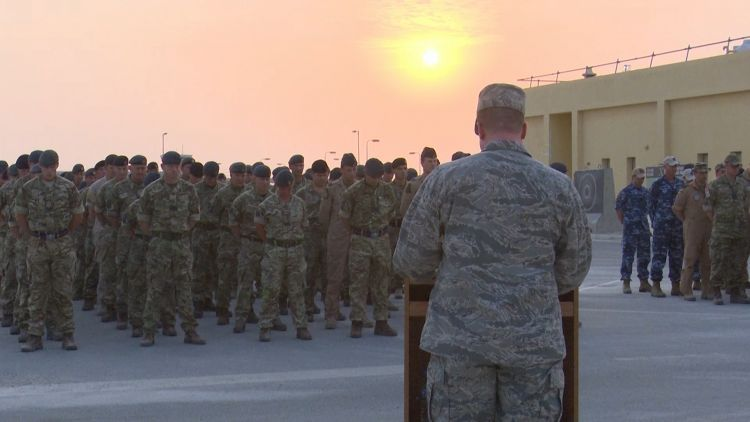 Sunset Ceremony Al Udeid Air base marking Battle of Britain