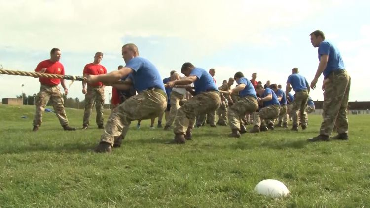 Royal Scots Dragoon Guards compete in a tug-of-war