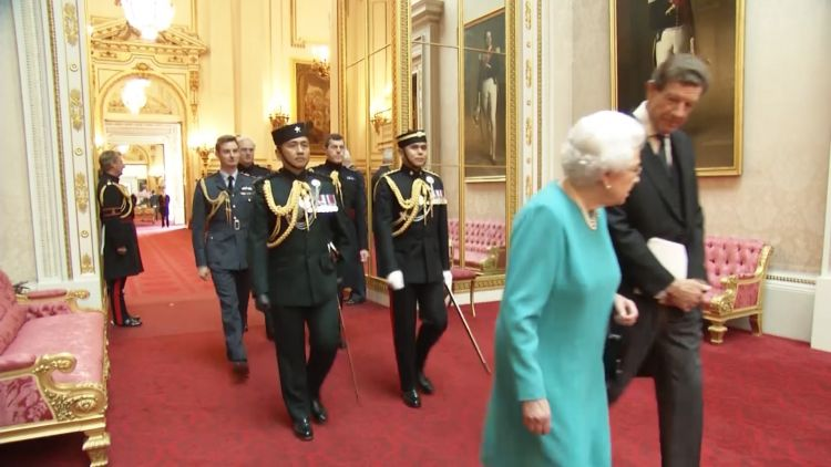 Gurkha Orderly Officers with the Queen