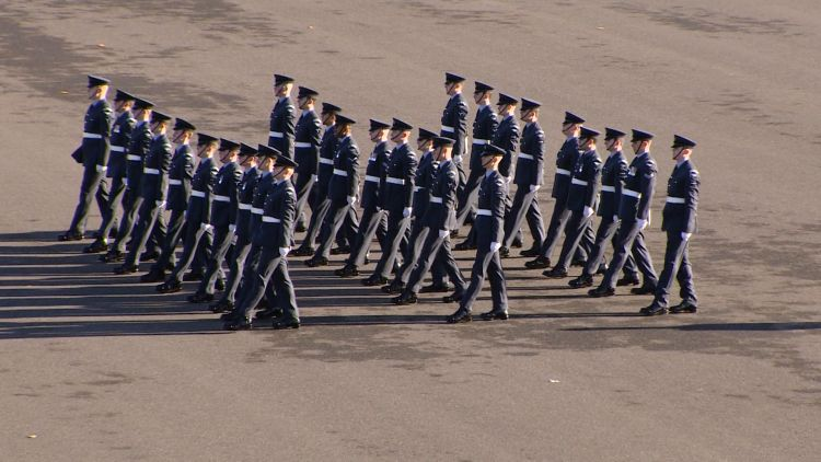RAF recruits perform march for Queen's Colour Squadron