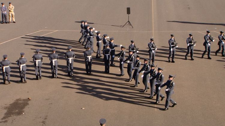RAF recruits perform march pattern for Queen's Colour Squadron
