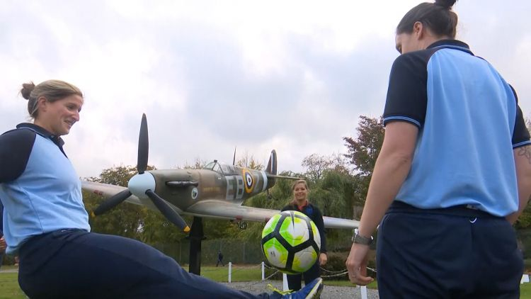 England's Lionesses Meet With RAF Women's Football Team