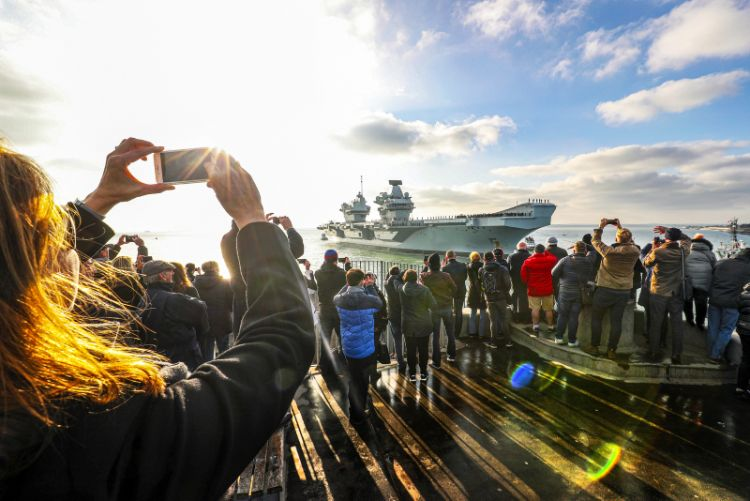 HMS Queen Elizabeth returning to Portsmouth, after a landmark deployment to the United States