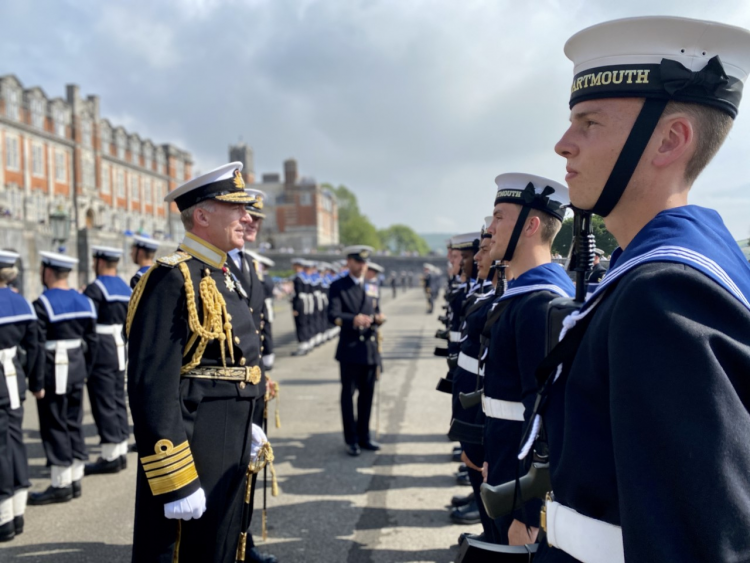 First Sea Lord Admiral  Tony Radakin inspects ratings passing out alongside officers at Dartmouth for first time 130820 CREDIT BFBS