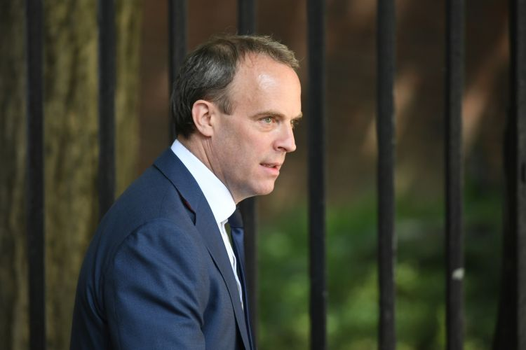 Foreign Secretary Dominic Raab in Downing Street, London 280520 CREDIT PA