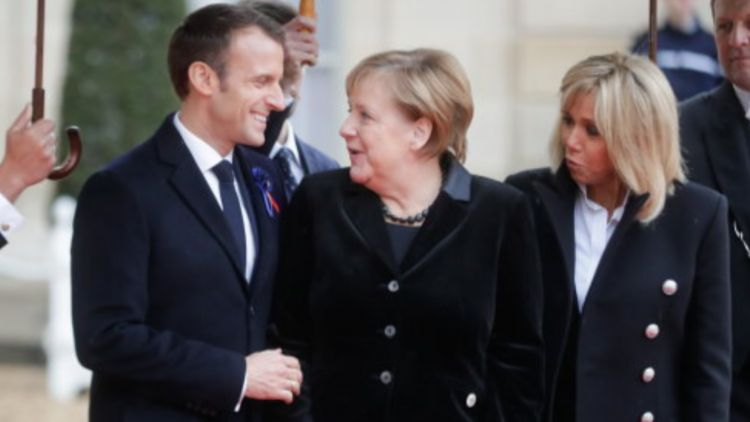 France President Emmanuel Macron with German Chancellor Angela Merkel (Picture: PA).