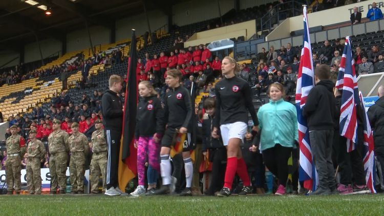 Games of Remembrance Walk Onto Pitch 091118 CREDIT BFBS