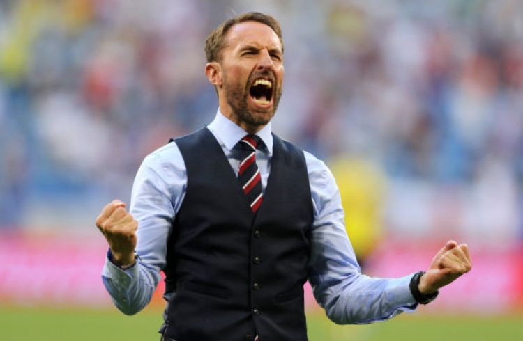 Gareth Southgate celebrates after beating Sweden (Picture: PA).