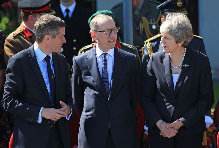Gavin Williamson with Philip May and Theresa May at Armed Forces Day 2018 in Llandudno