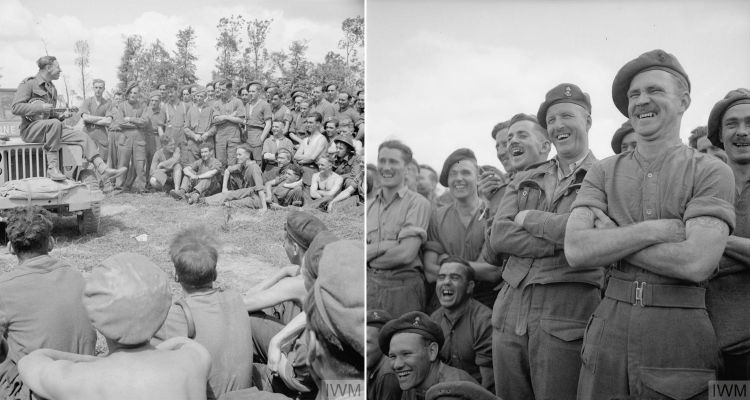 George Formby Entertains The Troops Near The Front Line Second World War WW2 © IWM (B 8257) and © IWM (B 8259)
