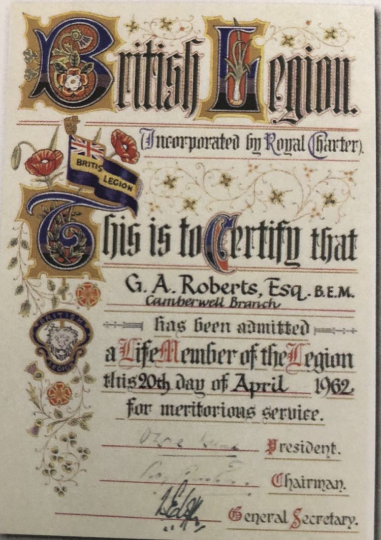 George Arthur Roberts British Legion Certificate 20.04.62 Credit George's Great Granddaughter Samantha Harding