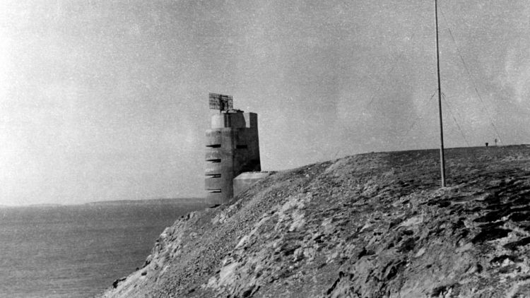 German fortification and control tower observation post with radar on St Ouen, Jersey during Channel Island German occupation in 1945 resized image 010145 CREDIT TopFoto PA.jpg