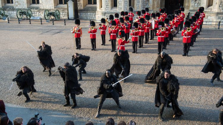 The squad of Night's Watch foot soldiers then took to the main parade ground outside the Waterloo Barracks at the Tower of London (Picture: MOD).