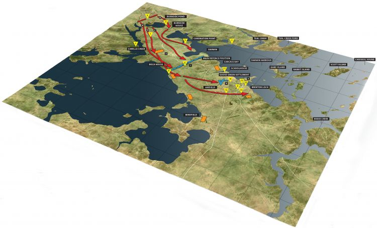 Goose Green Assault 3D map Falklands War version 2