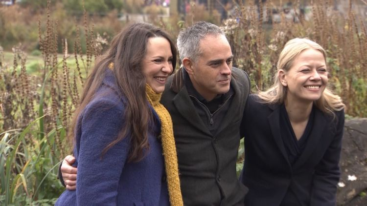 Green Party members Amelia Womack, Jonathan Bartley and Sian Berry at 2019 manifesto launch