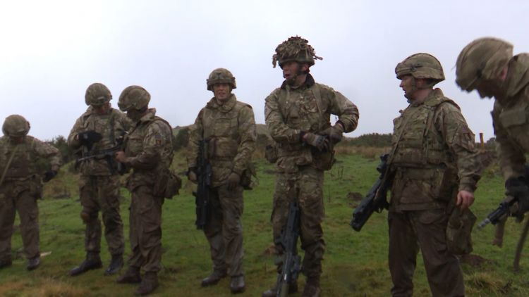 Group of soldiers take part in Exercise Wessex Storm Prep from the Scots Guards 110219 CREDIT BFBS.jpg .jpg