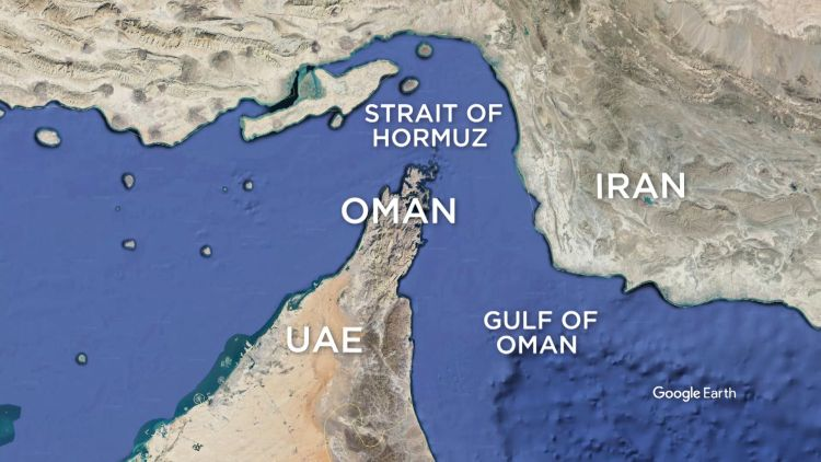 The incident involving the two oil tankers happened in the Gulf of Oman, close to the Strait of Hormuz (Picture: Google Earth).
