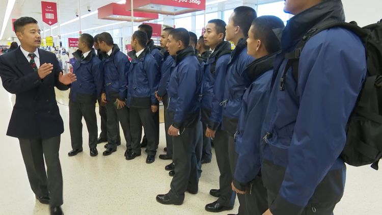 Gurkha recruits get briefed about UK supermarkets 220319 CREDIT BFBS.jpg