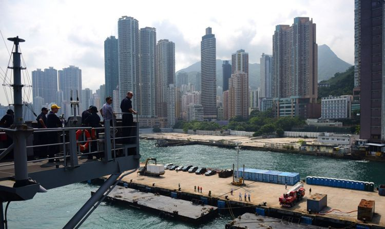 USS Blue Ridge Departs From Hong Kong